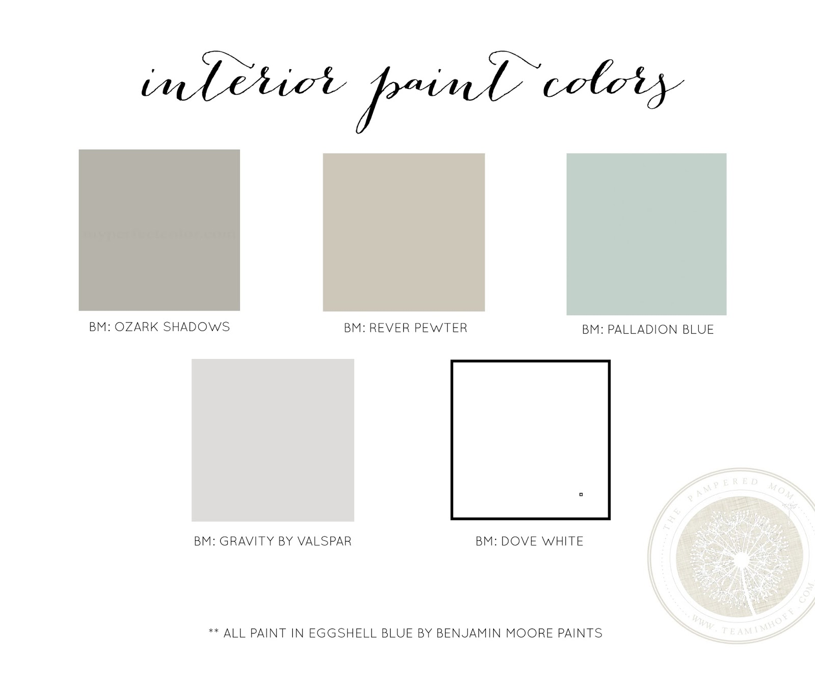 The pampered mom interior paint colors for Paint color palette