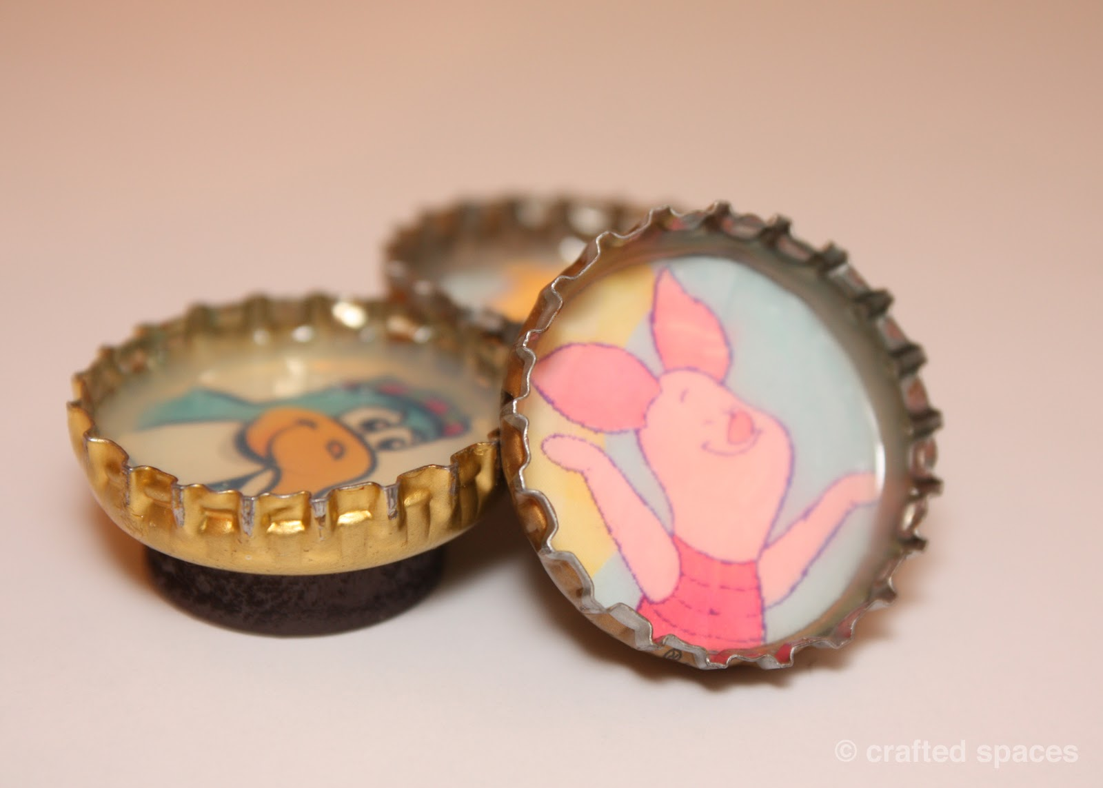 Crafted spaces crafty idea bottle cap magnet for How to make bottle cap crafts