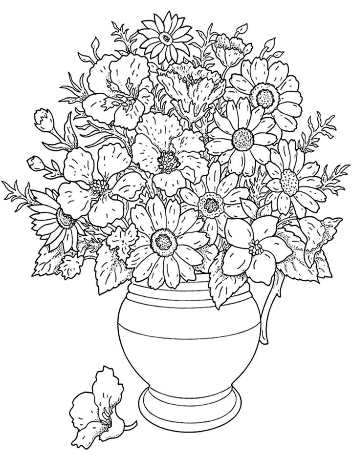 Flower Coloring Page Hard Flower Coloring Pages Pictures Of Flowers Coloring Pages