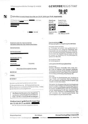 GES Gewerberegistrat GmbH   Korrekturfax   16.02.2015