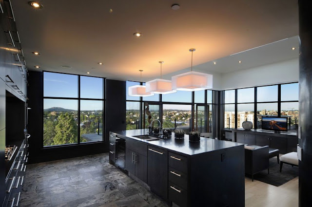 Picture of modern kitchen with the view on the green hills