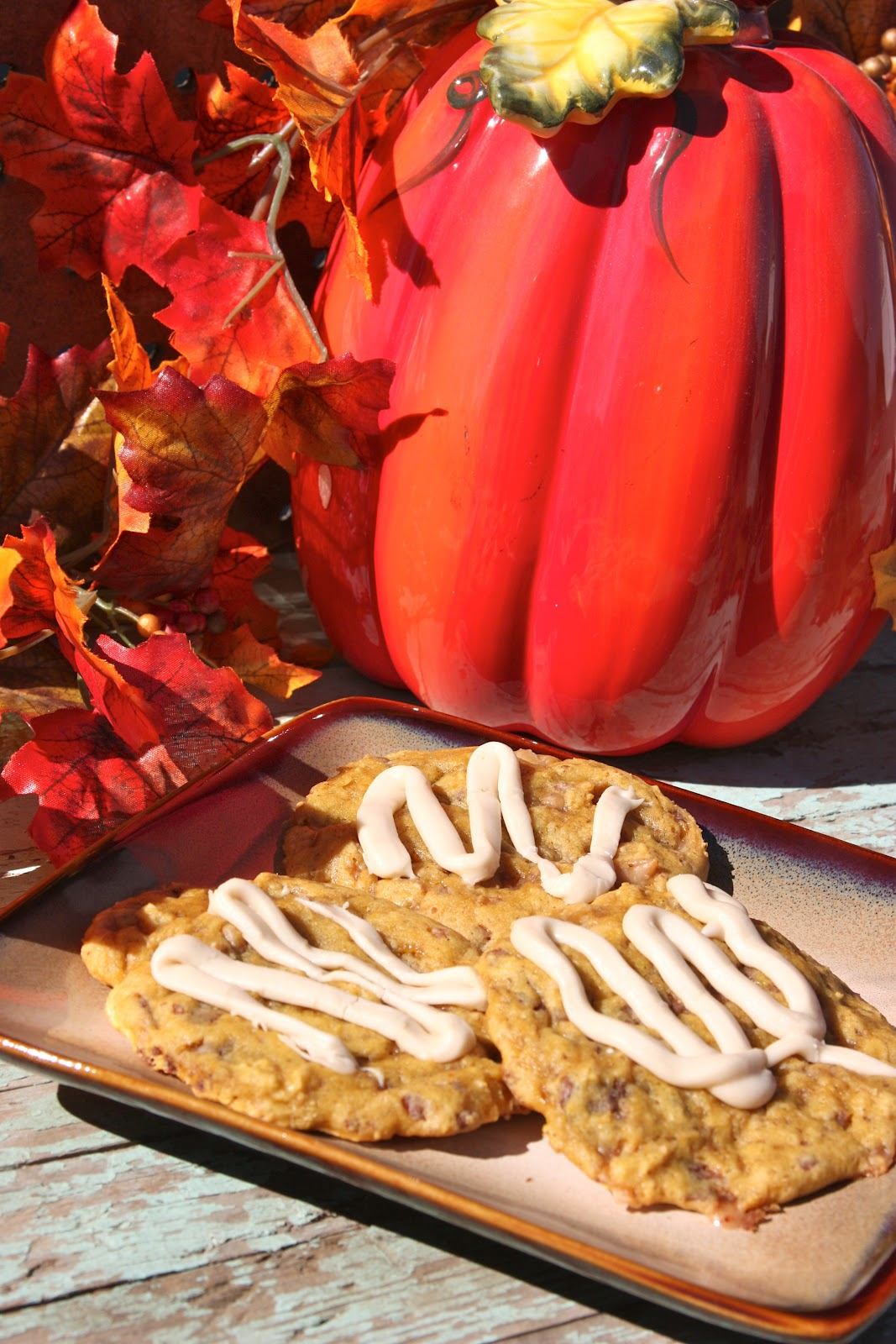 My Recipe Box: Pumpkin Toffee Cookies with Salted Caramel Glaze