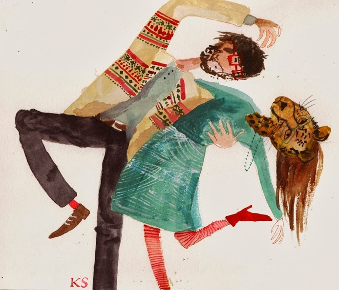 Kirsten Sims animal tiger and man dance illustration