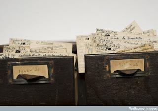 Sir Bernard Spilsbury - Index Cards (From Wellcome Library Blog)