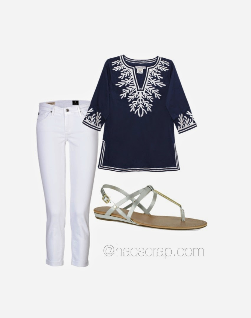 Navy Tunic and White Skinnies for Evening | My Scraps