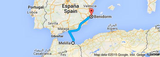 Ferry-avión-Melilla-Benidorm-Almería