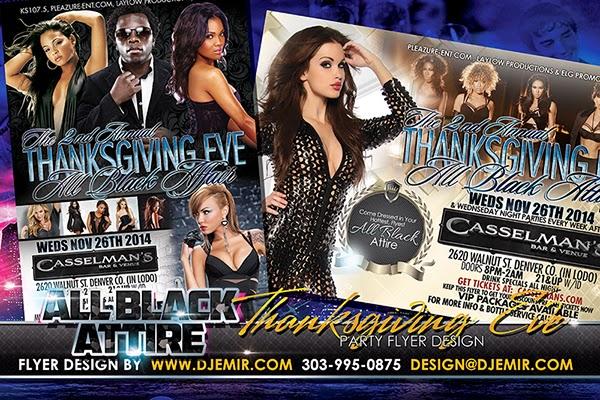 All Black Attire Thanksgiving Eve Party Flyer Design Colorado