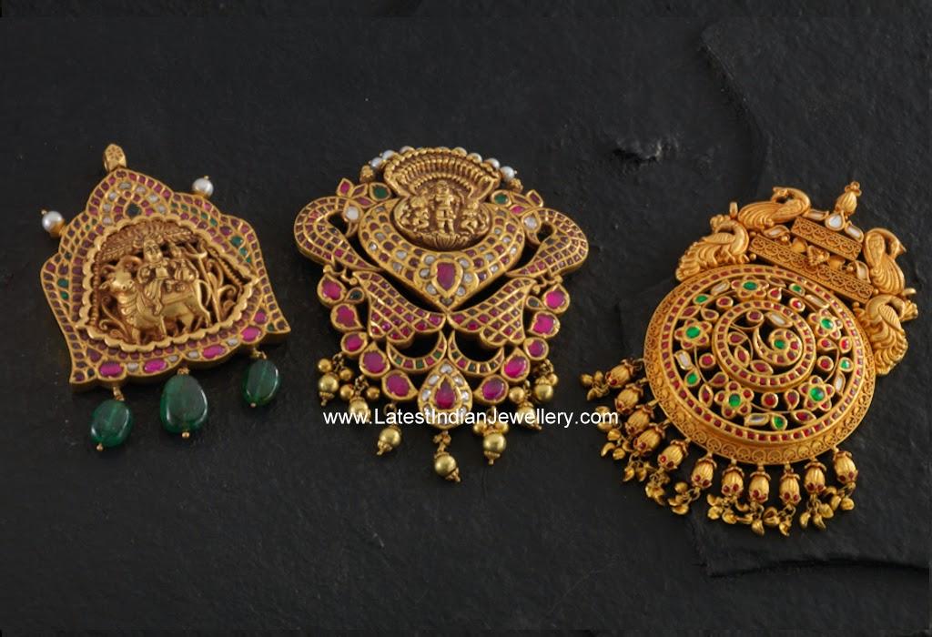 Exquisite Gold Temple Jewellery Pendants