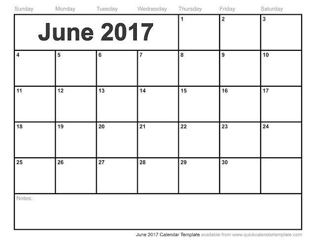 Blank Calendar June 2017 Printable – imvcorp