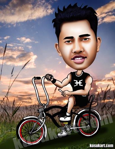 Karikatur Naik sepeda Lowrider