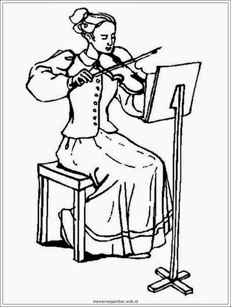 mewarnai gambar pemain orkestra