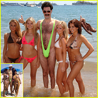 Borat in his Mankini with a 4 ladies in Womankinis
