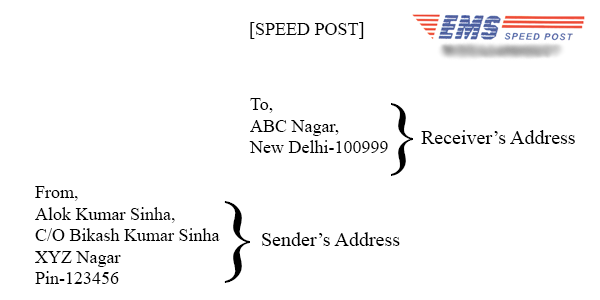 Letter Envelope Format India. Sample Speed Post Cover Image All For Students  Best way to write an Address on Indian speed