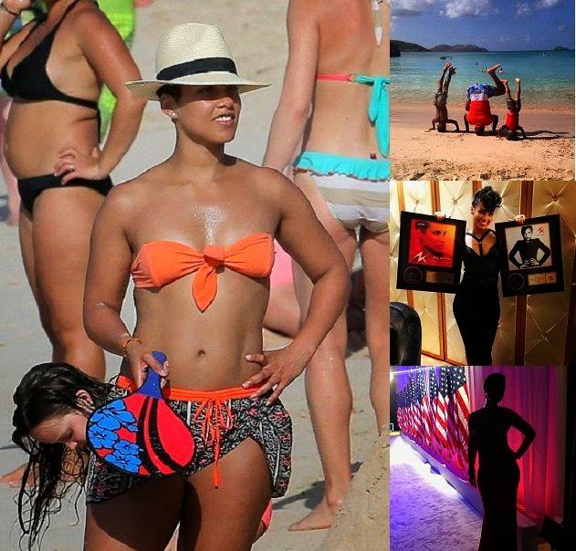 Alicia Keys stills Rock in an Orange Bikini during family getaway in Saint Barthelemy