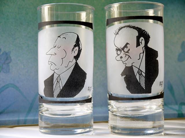 Caricatures de François Mitterrand et Georges Marchais par Jacques Faizant (verres)