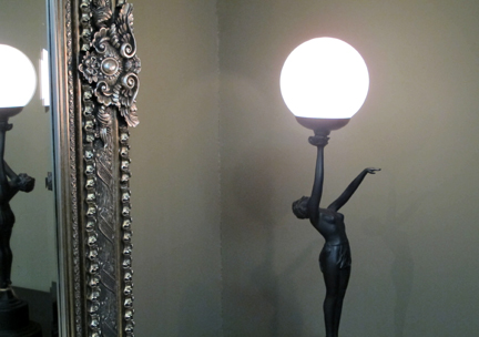 vintage art nouveau female figure lamp