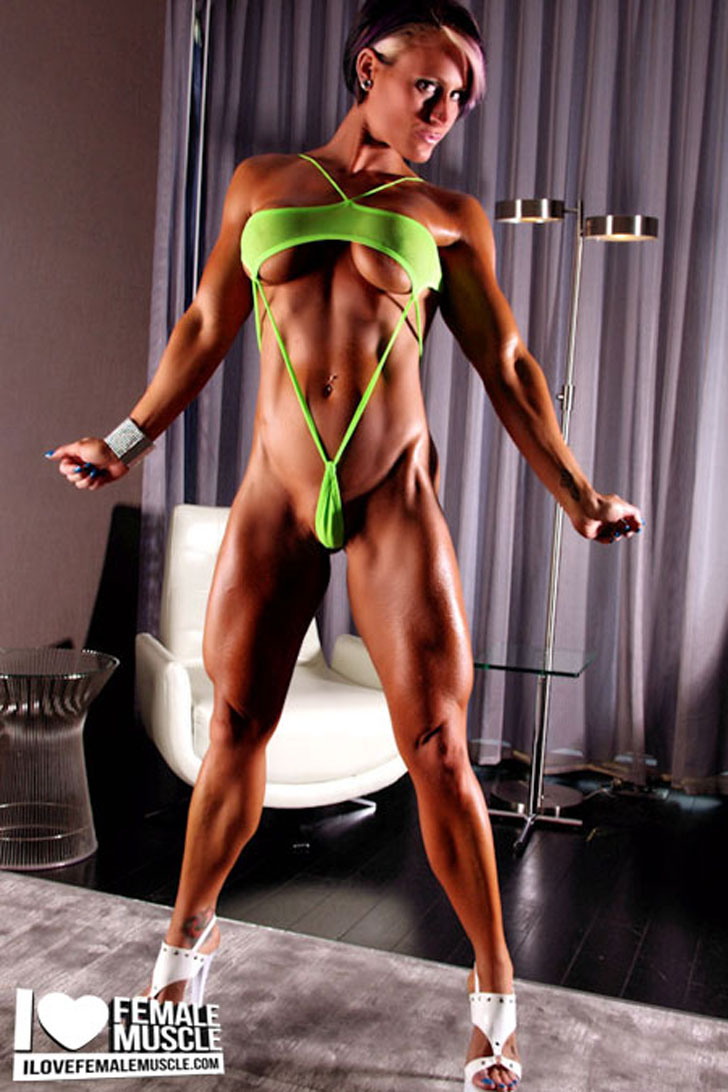 Nikki Warner Posing Her Ripped Physique In Heels
