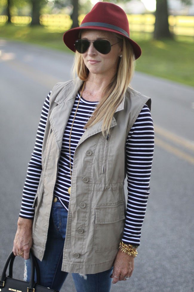 eugenia kim hat, ray ban sunnies, julie vos necklace, nordstrom earrings