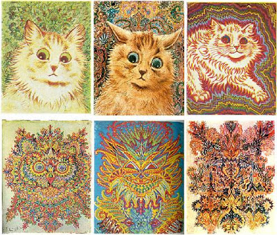 collage of brightly colored, fractal cat drawings by Louis Wain