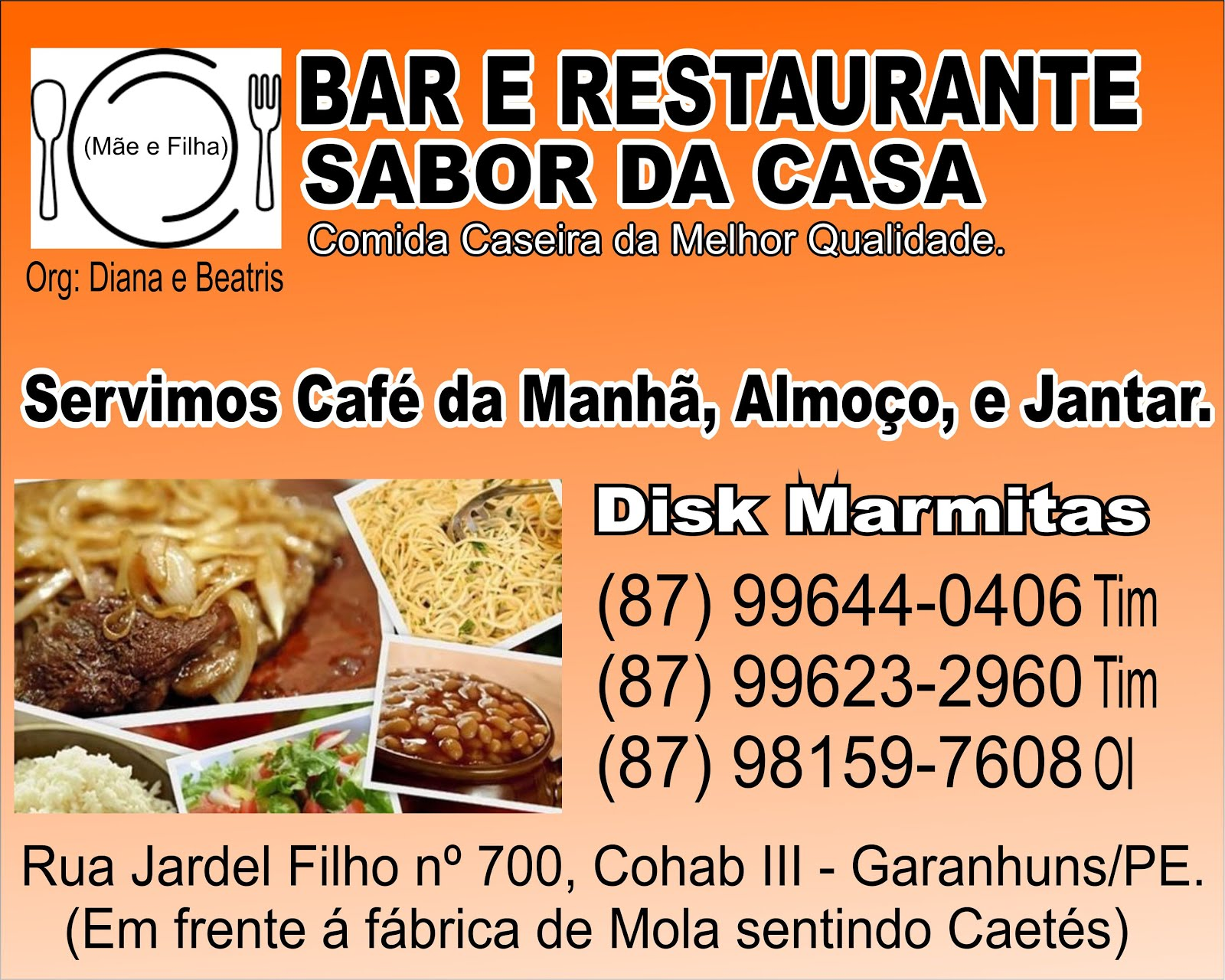 Bar e Restaurante Sabor da Casa.