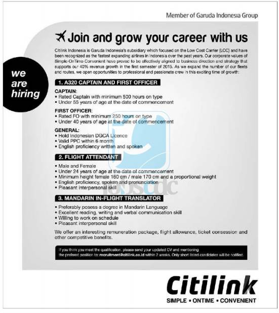 PT Citilink Indonesia - Captain, First Officer, FA, In