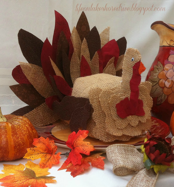 Burlap Turkey Tutorial using fabric stiffener