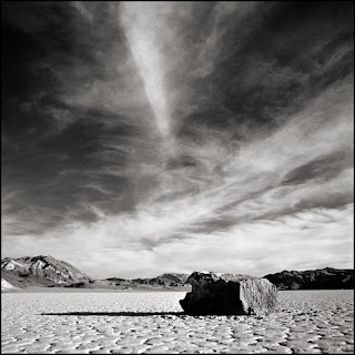 The Racetrack. Death Valley, CA - Black and white landscape photograph