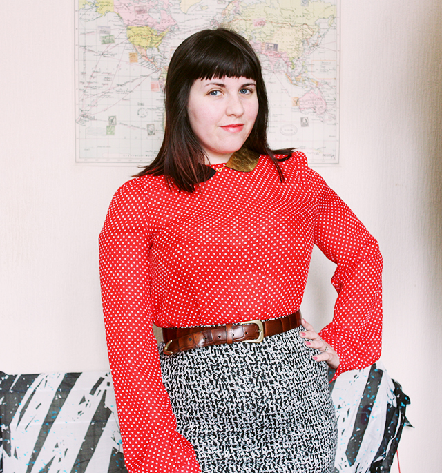 outfit post - red polka dot top from topshop, black and gold peter pan collar, and primark skirt