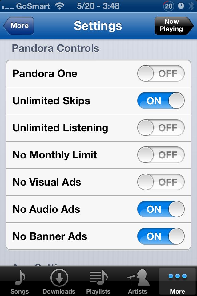 Pandora Settings