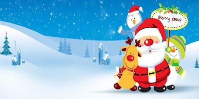 Santa Claus con renos y fondo de navidad