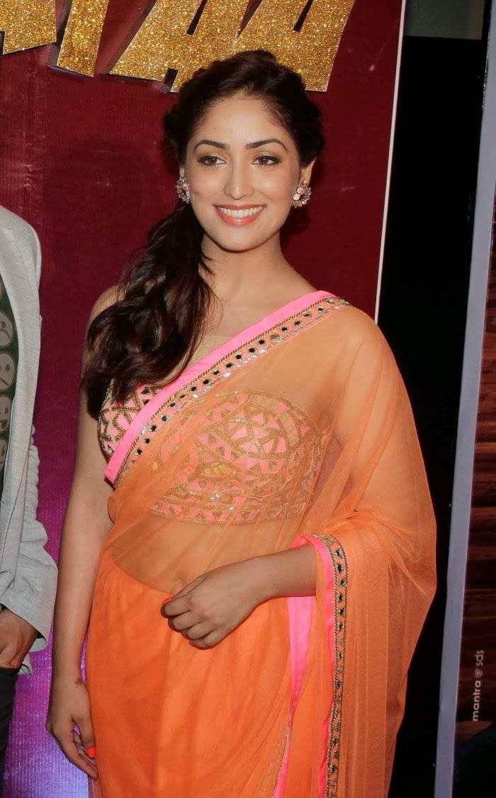 Bollywood Actress Yami Gautam Photos In Light Orange Saree Image