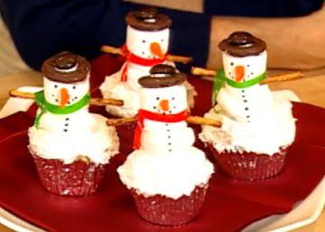 Tutorial para hacer cupcakes de muñecos de nieve.