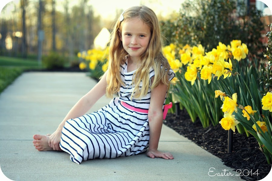 Easter picture in front of daffodils