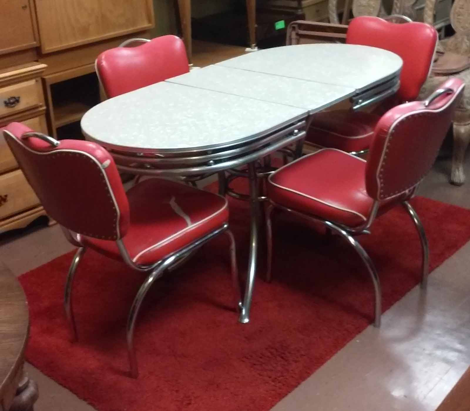 UHURU FURNITURE & COLLECTIBLES SOLD 50 s Style Chrome Table with