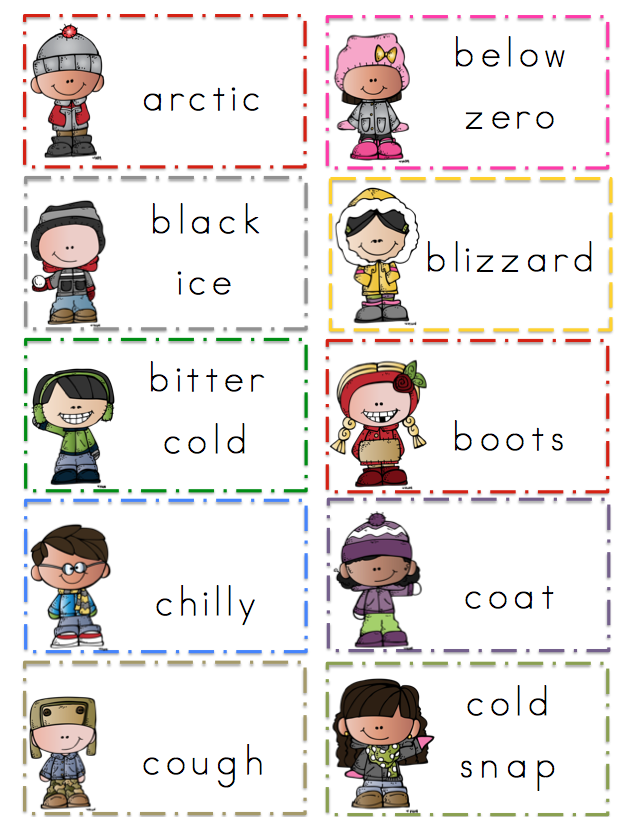 Winter Vocabulary Word Cards ~ Preschool Printables