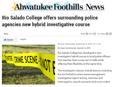 Image of headline from  Ahwatukee Foothills News: Rio Salado College offers surrounding poicie agencies new hybrid investigative course