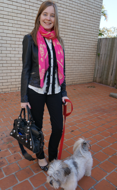 Away From Blue black pants for the office white ruffle shirt pink skull scarf