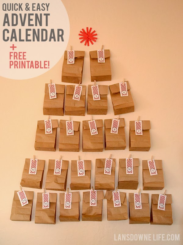Diy Calendar For Kids : Last minute diy advent calendar free printable number