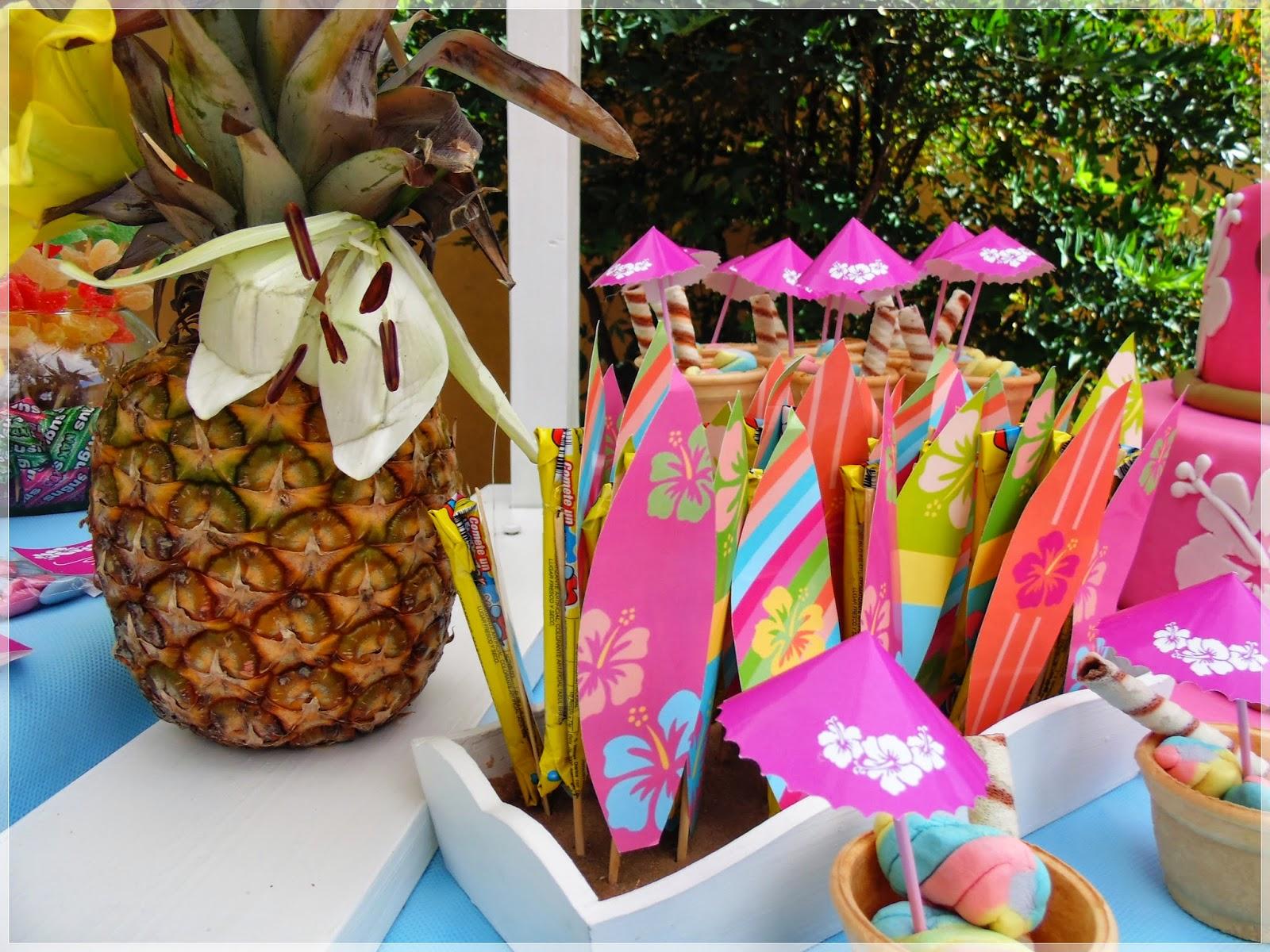Decoracion Hawaiana Facil ~ Endulzados Candy Bar Mesas dulces ambientadas Luau  Fiesta Hawaiana