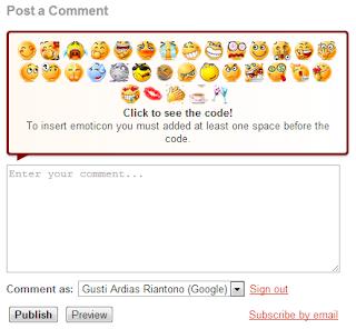 Menambahkan Emoticon Pada Komentar Blogspot