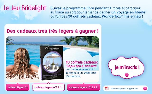 Jeu concours Bridelight: gagnez un voyage en liberté ou 30 coffrets cadeaux Wonderbox + 1 recette légère/jour bon plan bridelight recette minceur gratuite