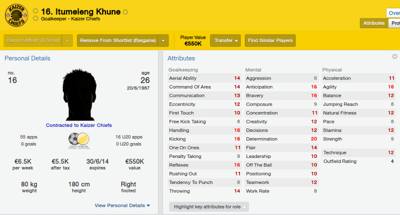Football Manager 2014 Bargain Buy Itumeleng Khune