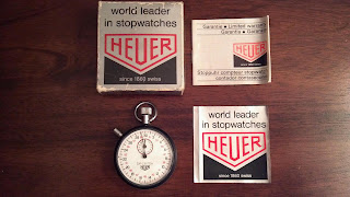 30 second heuer stopwatch with bent hand, box, instructions and sticker