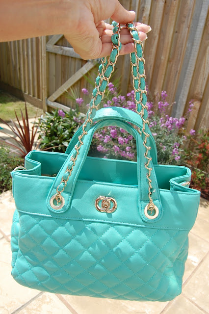Mint Green Quilted Bag small straps