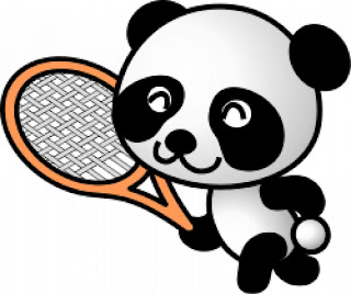 oso panda jugando al tenis