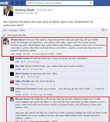 Print Screen Status Shabery Cheek Di Facebook