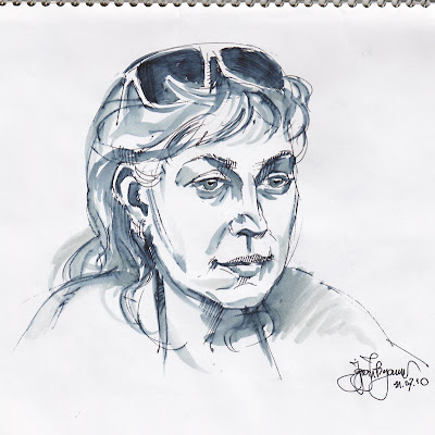woman, face, sketch, sunglasses on head