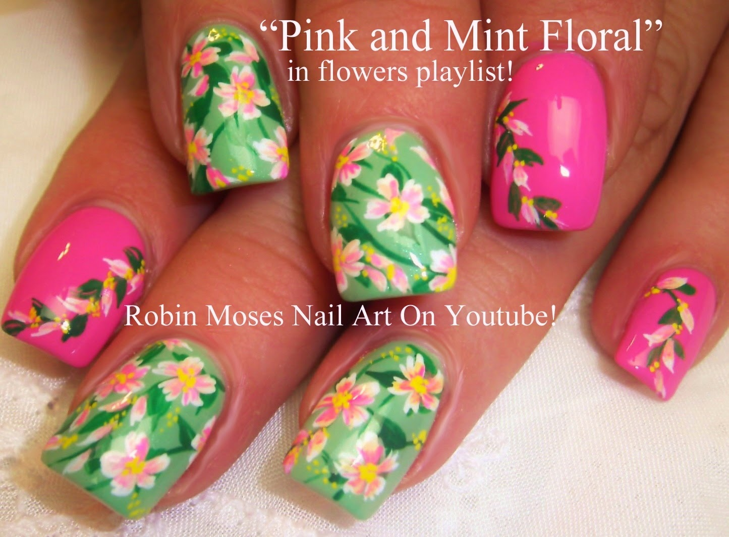 And Mint Nails Pink Flower Teal Flowers Nail Art Nailart Robin Moses