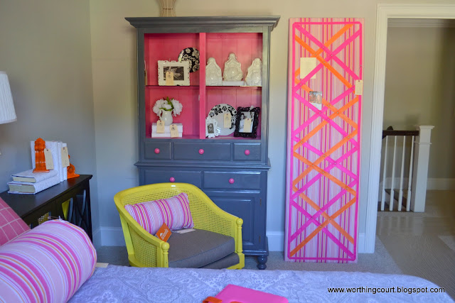 repurposed china cabinet and large pin board via Worthing Court blog
