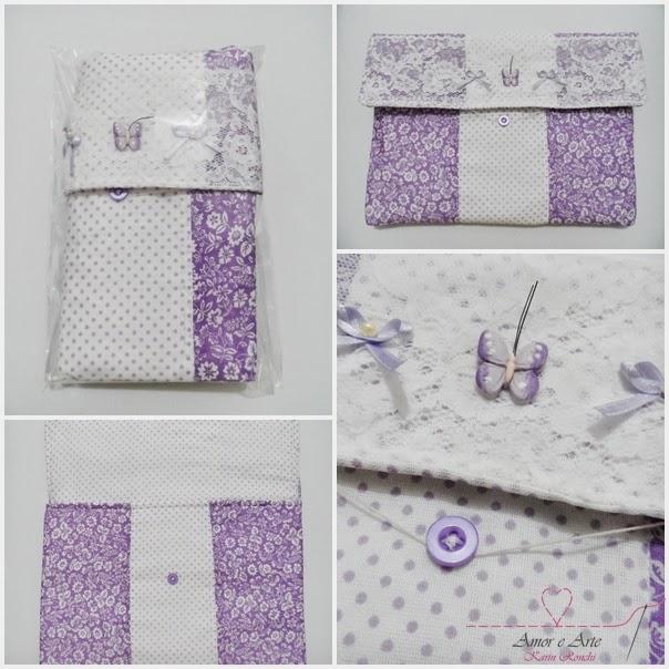 Case para tablet, capa em tecido - Mix de estampas lilás liberty e branco com poá lilás
